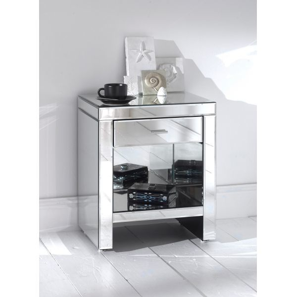 Art deco silver mirrored nightstand shelf from for Mirror bedside cabinets
