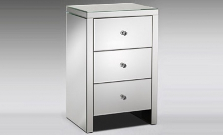 Silver Mirrored Nightstand with 3 Drawers