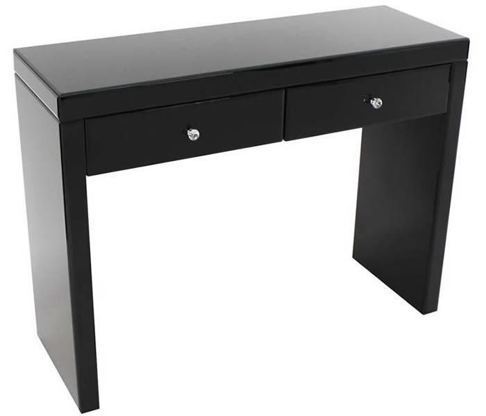 Black Mirrored Dressing Table With 2 Drawers