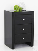 Black Mirrored Nightstand With 3 Drawers