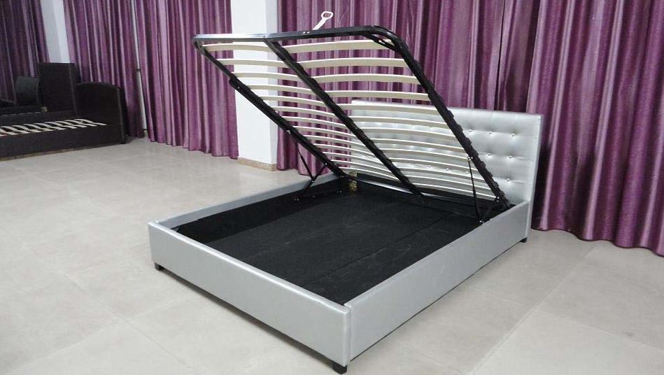 Silver shimmer lift up storage bed frame from - Lift up storage bed ...