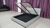 Silver Shimmer Lift-Up Storage Bed Frame