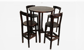 High Solid Wood Bar Table with 4 Chairs