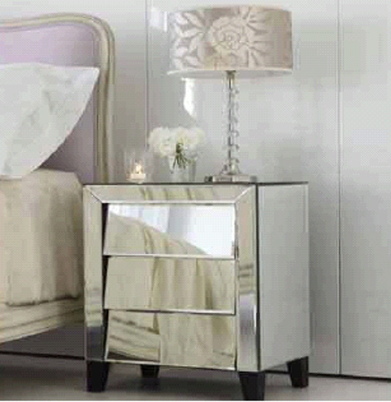 art deco silver mirrored nightstand with 3 angled drawers from