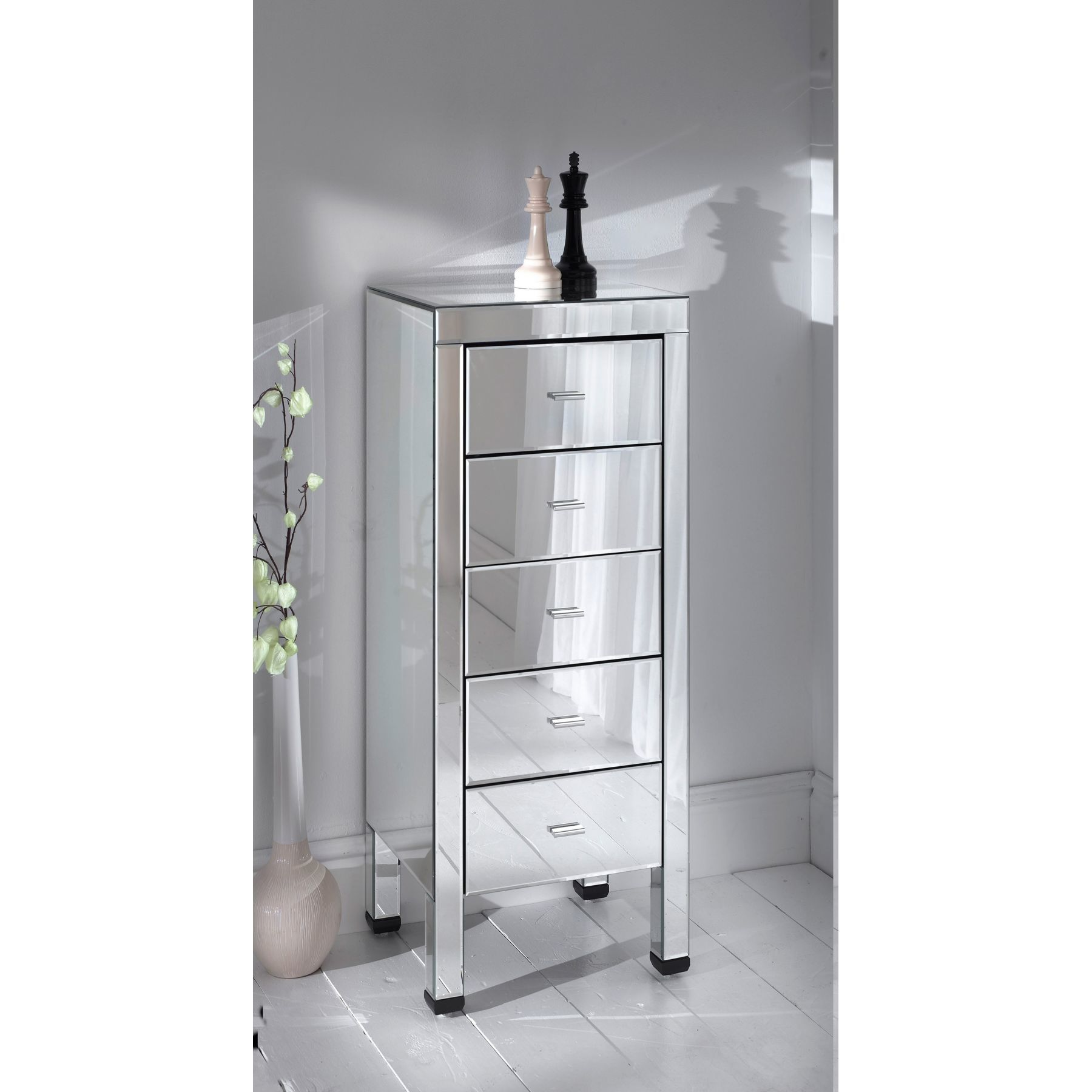 Silver Mirrored Tall Boy Cabinet with 5 Drawers from glit.ca ...