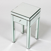 Art Deco Silver Mirrored Side Table with 1 Drawer