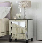 Art Deco Silver Mirrored Nightstand with 3 Angled Drawers